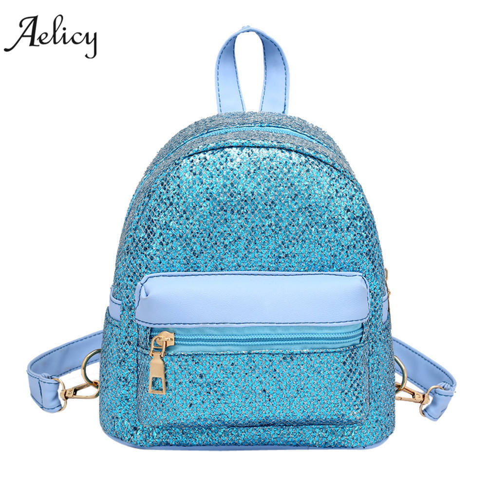 Aelicy New Bling Sequins Mini Backpack School Bags for Women PU Leather Bag Female Backpacks Teenage Girls Shoulder Bags Mochila