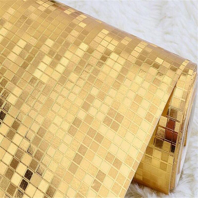 Beibehang 3D étanche or mosaïque papier peint or argent KTV bar comptoir grille papier peint pour murs 3 d papel de parede 3d - 2