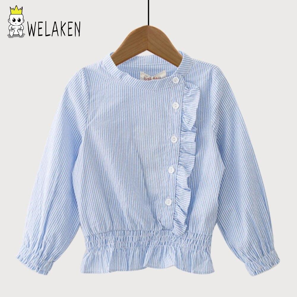 WeLaken Filles Blouses Enfants Tops Casul Filles Ruches Stripe Blouses Automne Bébé Fille Vêtements À Manches Longues Enfants Filles Shirts
