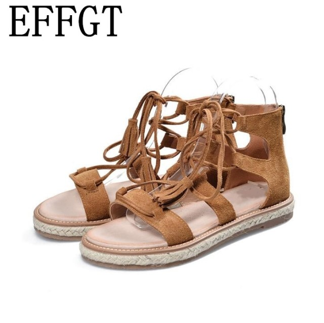 f4741f53a EFFGT 2017 New Roman Summer Fashion Women Gladiator Shoes Genuine Leather  Lady Leisure flats zipper tassel Sandals H171