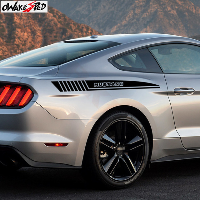 Racing Sport Stripes Stickers Car Styling Body Side Decor Sticker Auto Tail Bumper Decals For Ford MUSTANG 2009-2018