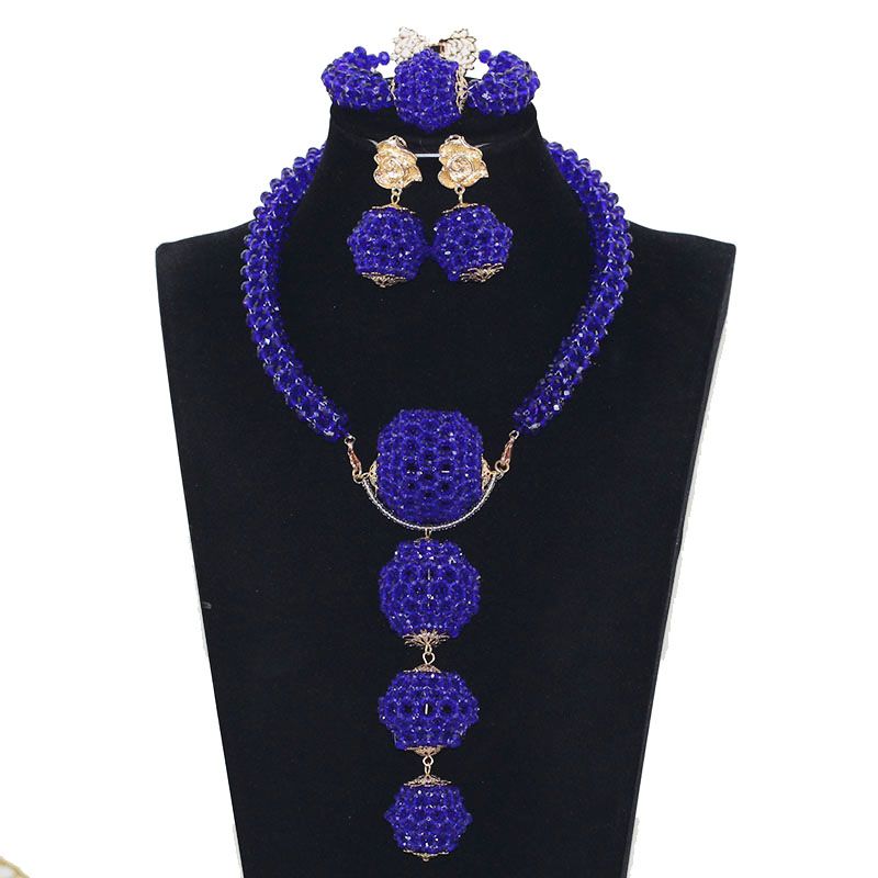 Indian Nigerian Wedding Bridal Jewelry African Royal Blue Jewelry Sets Beads Jewelry Sets Dubai Women Pendan Necklace Set ABH558 stonefans rosered dubai jewelry sets for women in nigerian wedding set prom necklace rhinestone necklace and earing sets wedding
