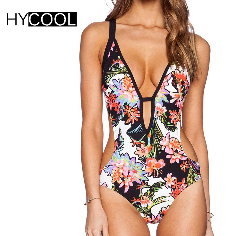 HYCOOL Backless One Piece Swimsuit Vintage Floral Print Swimwear Sexy Bathing Suit Colorful Summer Beach Wear Deep V Monokini women solid one piece swimsuit halter backless bandage bodysuit monokini deep v neck sexy high waist vintage beach wear