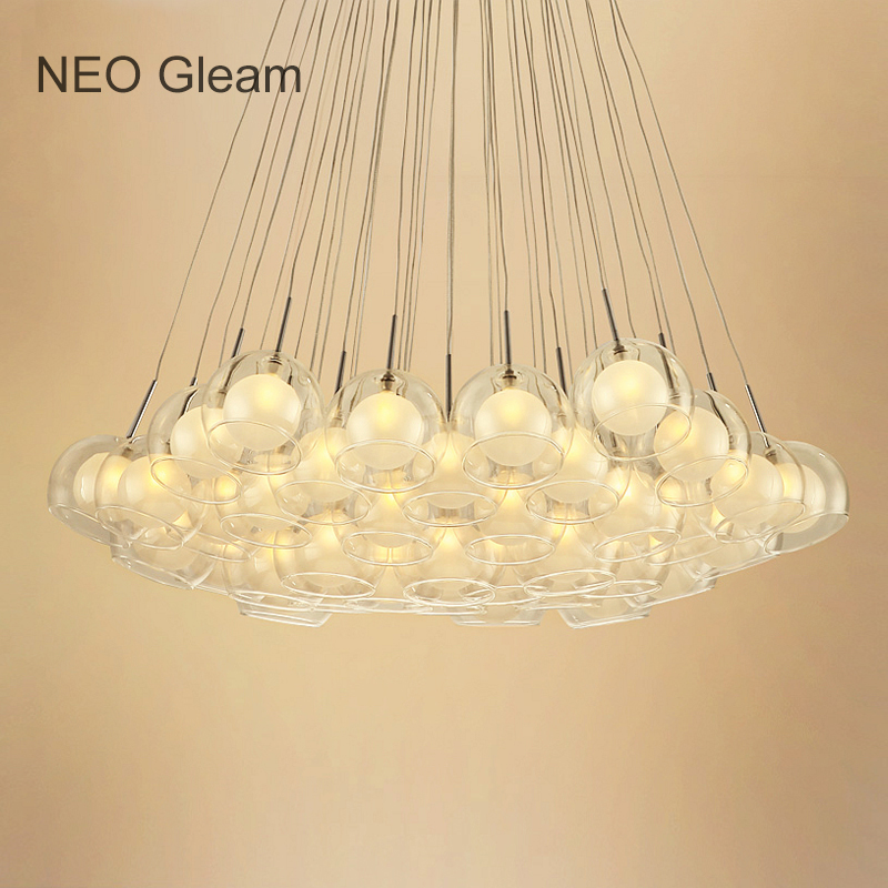 Ideal Glass Bubble Modern Led Pendant Lights For Living Dining Room Bedroom AC85-265V G4 Hanging Pendant Lamp Fixture hanglampen fumat stained glass pendant lamps european style glass lamp for living room dining room baroque glass art pendant lights led