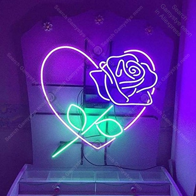 Neon Sign Rose Love Heart Romantic Romance Collection Glass Tube For