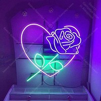 Neon Sign Rose Love Heart Romantic Romance Collection Glass Tube For Gift Bedroom Beer Pub Decor Neon Light Signs Iconic Sign