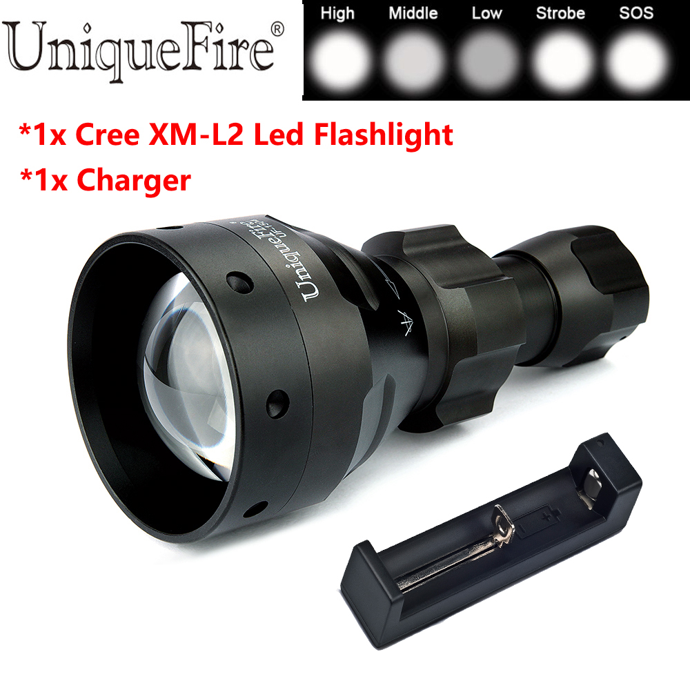 UniqueFire 10W Powerful Led Flashlight UF-1504 Cree XM-L2 Led 5 Modes Zoomable 18650/26650 Flashlight Torch+18650 Charger kinfire kf 11 led 580lm 5 mode white light flashlight w cree xm l2 golden 1 x 18650 26650