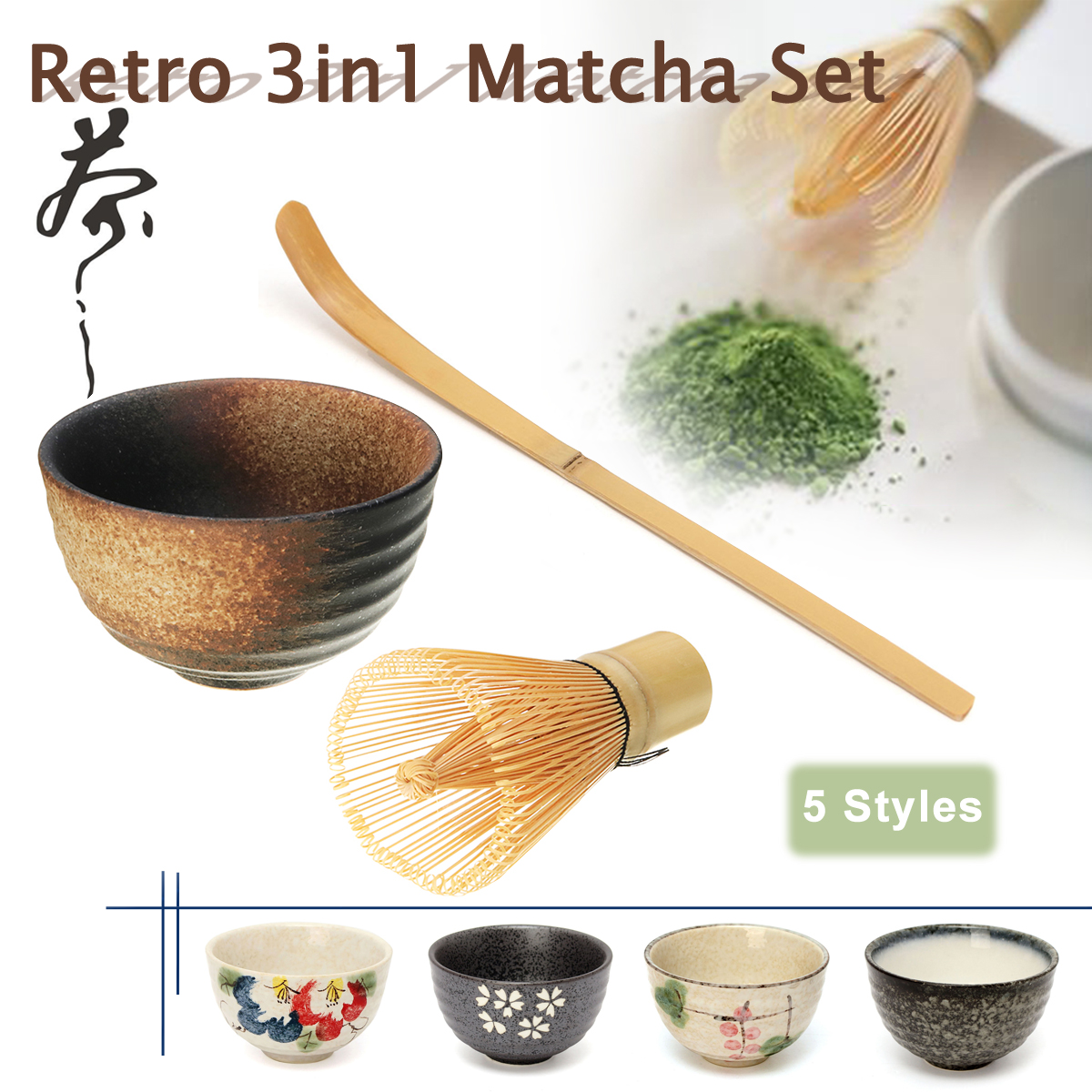 Retro 3in1 Bamboo Chasen Matcha Whisk Chashaku Tea Scoop Matcha Bowl Ceramic Tea Bowl Home Kitchen Tea Tools Set Tea Accessories