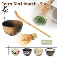 Retro 3in1 Bamboo Chasen Matcha Whisk Chashaku Tea Scoop Matcha Bowl Ceramic Tea Bowl Home Kitchen Tea Tools Set Tea Accessories Teaware Sets     -