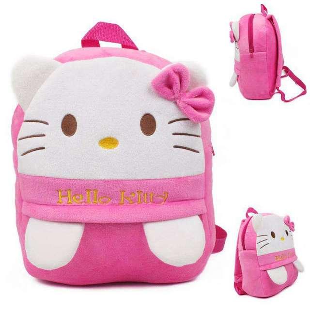 Kawaii Hello Kitty Rosa de Felpa Mochilas Para Bebés de Peluche Bolsas de Hombro Mochila Escolar Kindergarten Menino Dj108