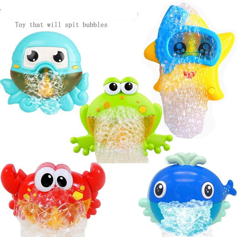 Starfish Whale Octopus Frog Crabs Bubble Maker Bath Toy Music Bubble Maker Swimming Funny Play Bath Tool For Children Kids