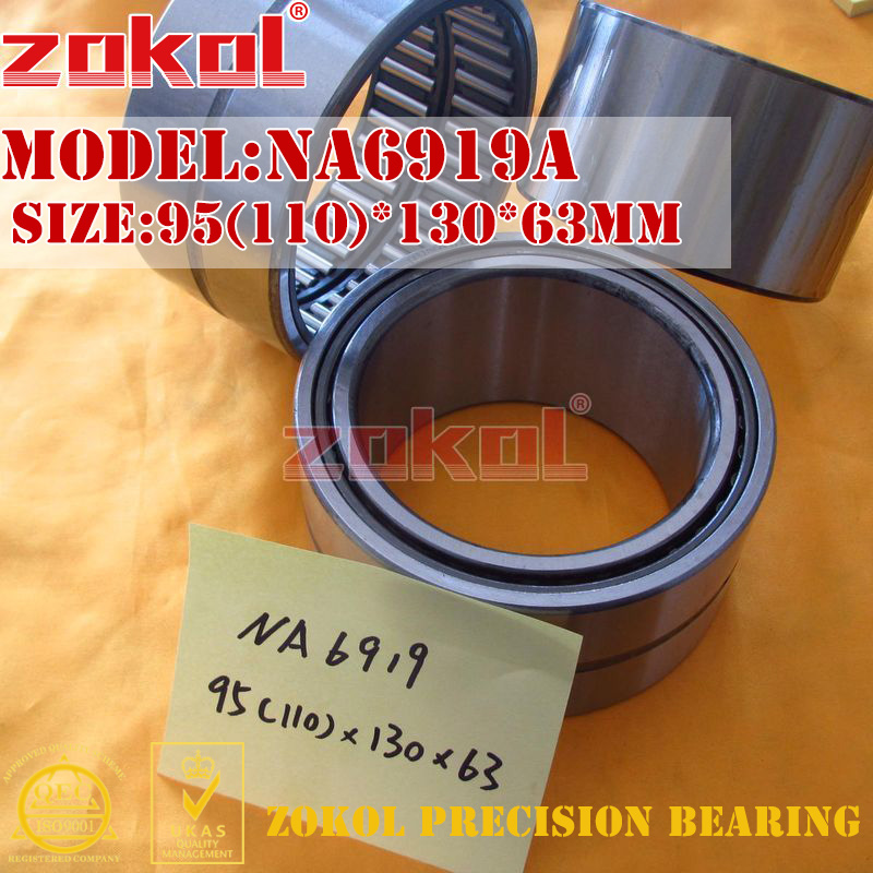 ZOKOL bearing NA6919 A NA6919A Entity ferrule needle roller bearing 95(110)*130*63mm na4922 heavy duty needle roller bearing entity needle bearing with inner ring 4524922 size 110 150 40