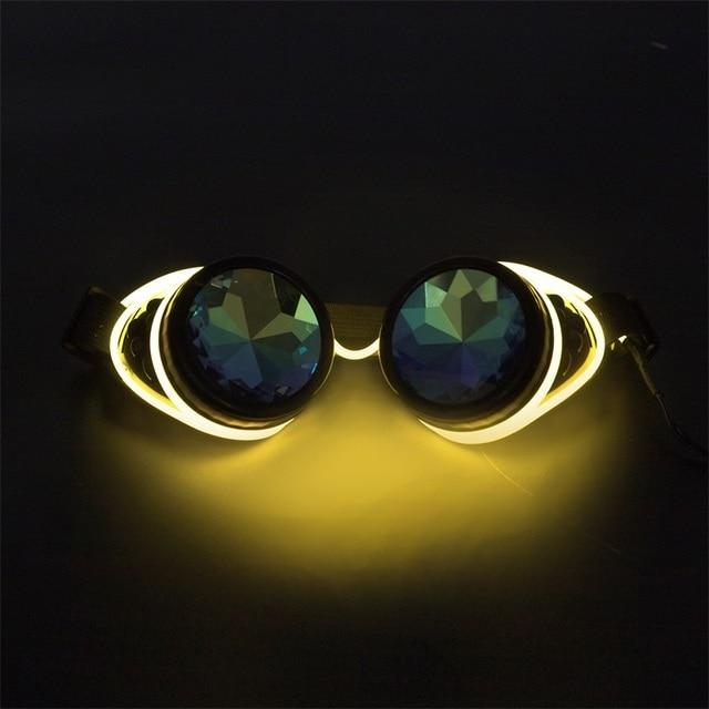 62821f6136ba Kaleidoscope Rave Rainbow Crystal Lenses Steampunk Goggles Light Up EDM  Festival Rave Party Cosplay Punk Vintage Glass Eyewear