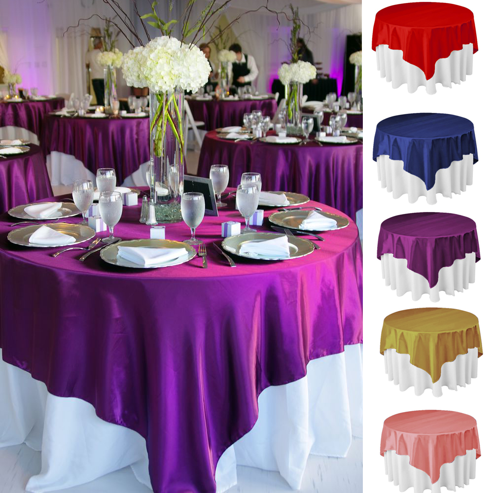 Square satin tablecloth 145cm x 145cm - Decoration table restaurant gastronomique ...