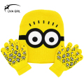 2016 New Skullies & Beanies Snapback Winter Hat Children Cartoon Minions Glove Hat Cotton Knitted Hat for Boy and Girl