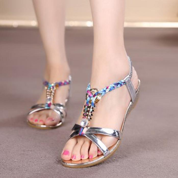 Sandals Women Summer Shoes Woman Rhinestone Flat Sandals for Female Fashion Casual Sandals Ladies Comfortable Beach Shoes women sandals 2017 summer shoes woman wedges fashion gladiator platform female slides ladies casual shoes flat comfortable