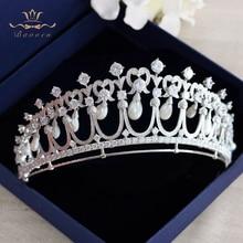 Royal Princess Nature Shell Pearls Brides Crowns Headpiece Zircon Crystal Wedding Tiaras Hairbands Evening Dress Hair