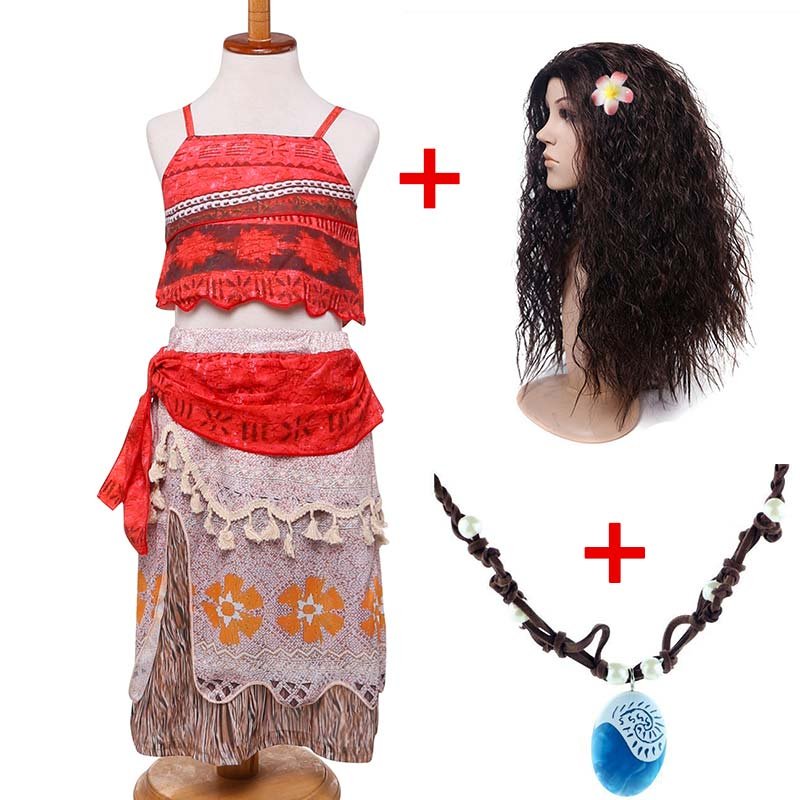 Girls Princess Moana Costume Dresses with Necklace Wig Kids Party Outfit Advanture Cosplay Classic Deluxe Moana Dress Costumes