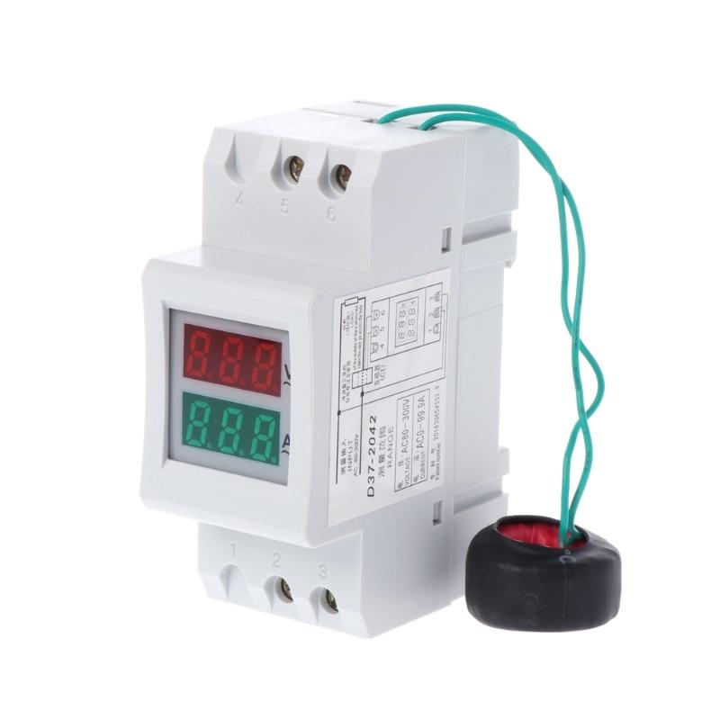 NEW 2P 36mm Din Rail Dual LED Voltage Current Meter Voltmeter Ammeter AC 80-300V 250-450V 0-100A H15