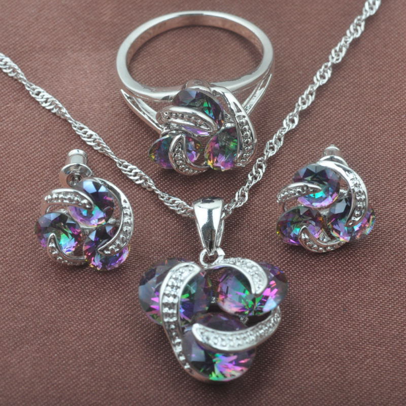Classic Multicolor Rainbow Zircon For Women 925 Sterlig Silver Jewelry Sets Necklace Pendant Earrings Rings Free Shipping TZ0174(China)