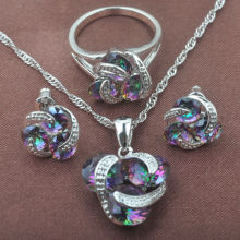 Classic Multicolor Rainbow Zircon For Women 925 Sterling Silver Jewelry Sets Necklace Pendant Earrings Rings