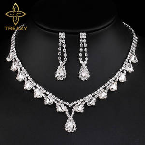 TREAZY Crystal Wedding Jewelry Sets for for Women