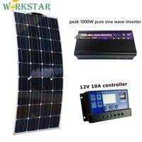 20 В 100 Вт гибкие Панели Солнечные с 10A контроллер и пик 1000 Вт Чистая синусоида Инвертор 12 В Батарея солнечный Зарядное устройство для RV лодка