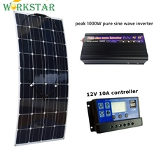 20V 100W Flexible Solar Panel with 10A Controller and Peak 1000W Pure Sine Wave Inverter 12V Battery Solar Charger for RV Boat