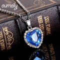 OUMEILY Jewelry Titanic Heart Ocean Necklace Platinum Plated Imitated Crystal Necklaces Pendants For Women Movie Haiyangzhixin