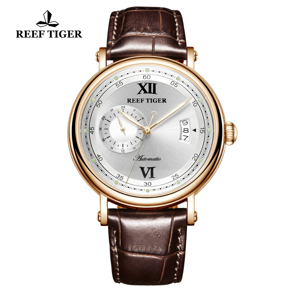 New 2019 Reef Tiger/RT Mens Luxury Dress Watch Design Creative Watches Rose Gold Miyota Mechanical Watch Leather Strap RGA1617-2