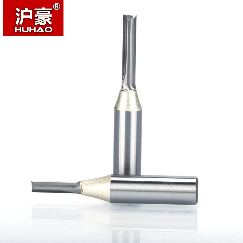 HUHAO 1pc 1/2 Shank TCT Straight Router Bits Woodworking Carving 2 Flute Milling Cutter Wood Engraving Carbide CNC Bits