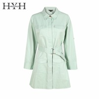 HYH HAOYIHUI 2016 Brand New Fashion Autumn Women Casual Single Breasted Dress Solid Green Big Pocket