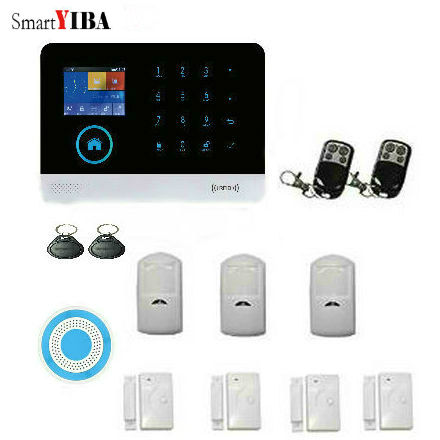 SmartYIBA Wireless GSM WIFI RFID Home Security Surveillance Alarm System With Wireless Siren PIR Motion Sensor Android IOS APP wireless gsm sms burglar alarm home security system with pir motion sensor door magnet sensor app control ios android