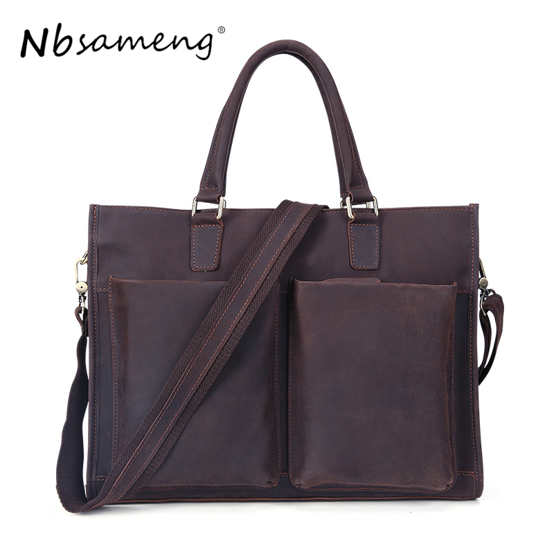 NBSAMENG New Fashion 2018 Men Genuine Cowhide Leather Handbags Man Vintage Bag Business Tote Briefcases Casual Bags