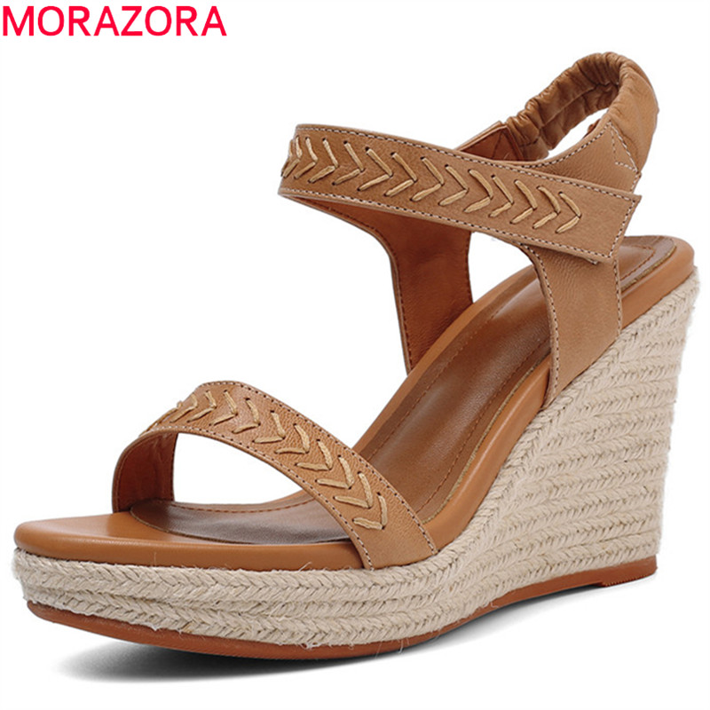 MORAZORA 2019 nueva venta caliente sandalias de cuero genuino de las mujeres calzado simple verano cuñas sandalias de plataforma Mujer Zapatos Casuales-in Sandalias de mujer from zapatos    1