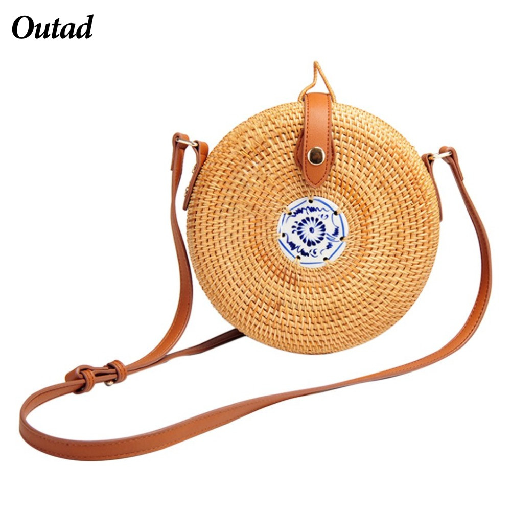 OUTAD Women Bag Bohemia Pastoral Round Straw Bag Female Rattan Summer Beach Shoulder Bag ...