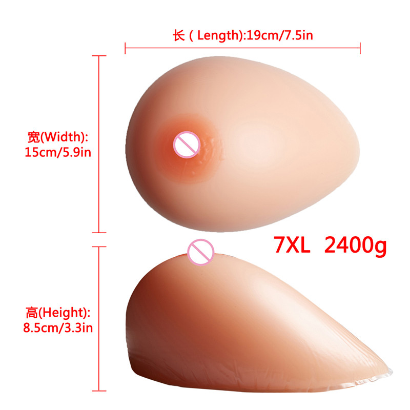 2400g/pair Silicone Breast Forms False Breast Boobs Enhancer Gel Bra Insert For Mastectomy Crossdressers and Transvestites