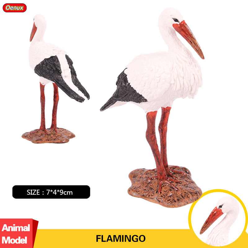 Oenux Toys Model-Crane Action-Figure Animal Toy-Collection Flamingo Original for Kid
