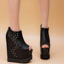 High-heeled shoes wedges sandals summer platform cutout platform elevator platform open toe sandals female