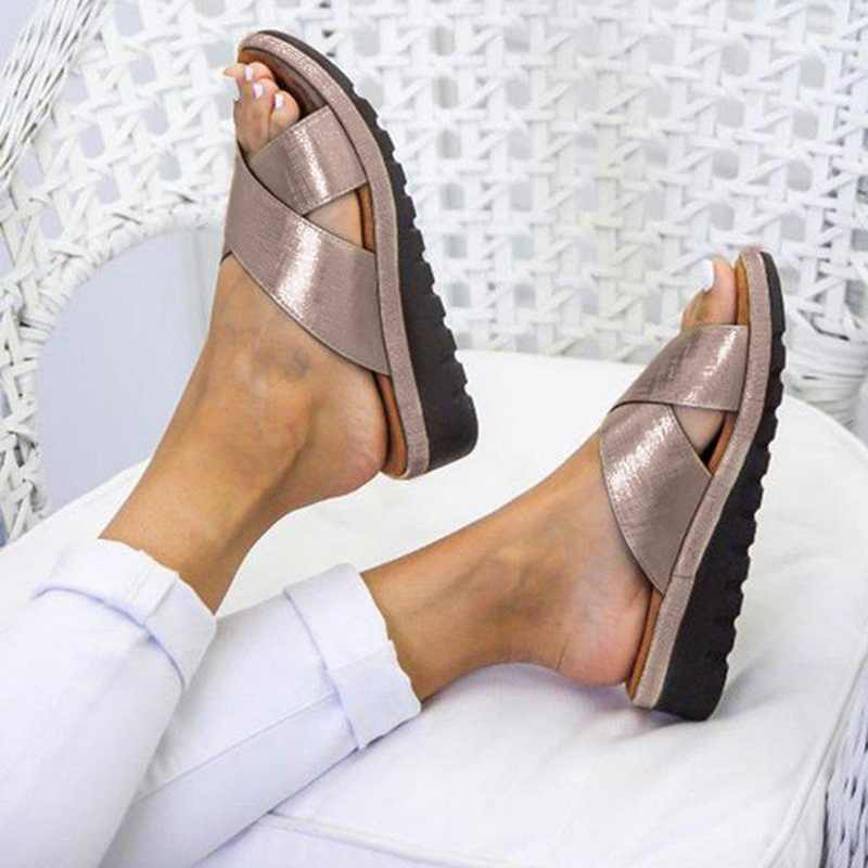 PUIMENTIUA Summer Shoes Woman Outdoor Cross Sandal Mid-heel  Soft Bottom Comfortable Sandals Sandalias Shoes Dropshipping
