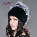 Sombreros para las mujeres sombrero de piel de invierno Real de piel de visón con rex flores top 2015 Rusia marca de moda de piel de piel de conejo gorro de lana gorros