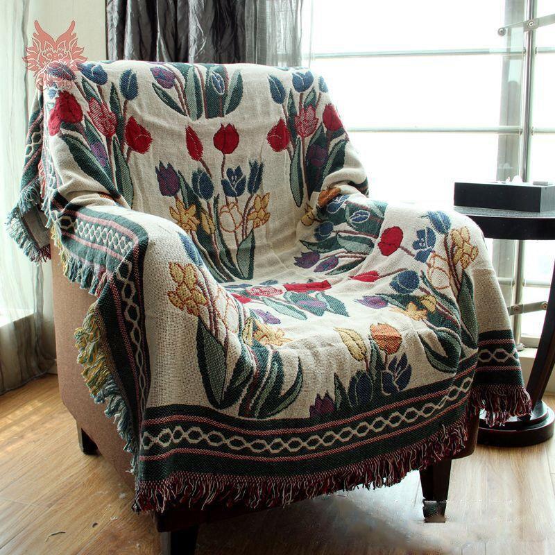 American Country Style 100 Cotton Sofa Towel Fl Jacquard Blanket Slip Resistant Vintage