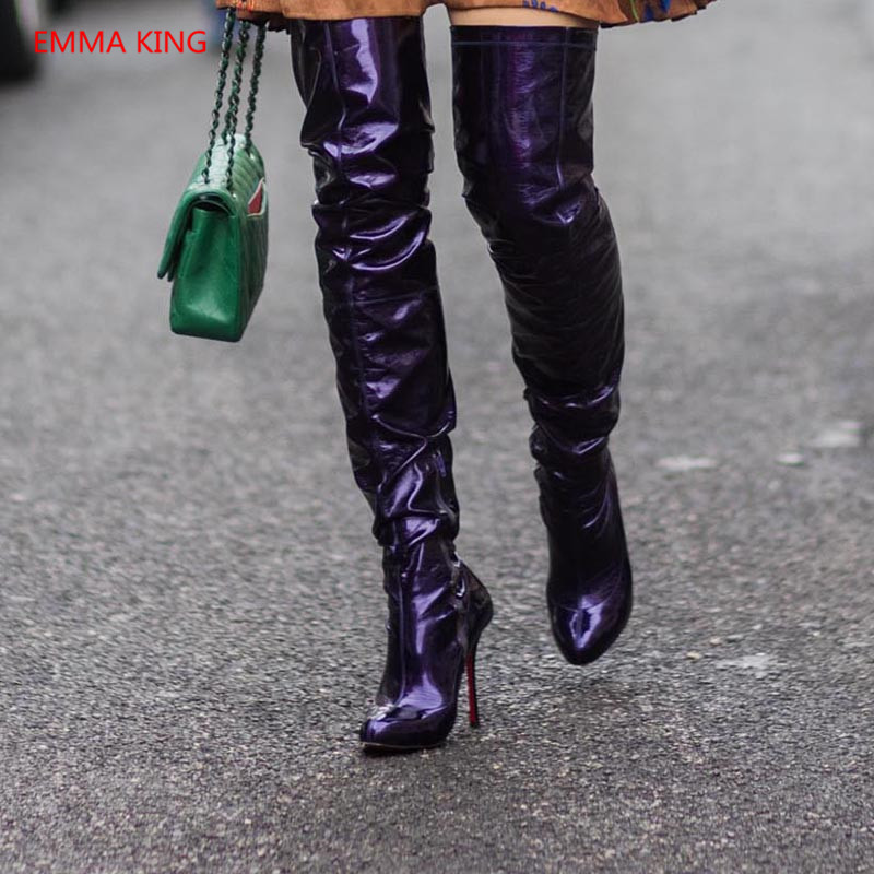 467625fc4dd Fashion Pointed Toe Women Over The Knee Boots Luxury Patent Leather ...