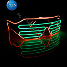 Top party tools (Orange+Green) Mix color EL party Shutter Glasses LED glasses+3V Inverter + Free Shipping