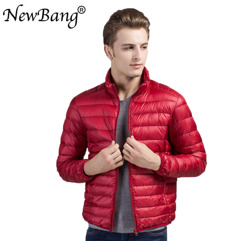 NewBang Brand Men's Down Jackets Ultra Light Down Jacket Men Stand Collar Feather Windbreaker Out Wear Thin Parka With Carry Bag
