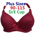 2017 New Style Plus size Underwired Padded thin Sexy Full Lace Coverage Big Cup Volumn Push up Bras 90-115 D/E Cup Bra H227