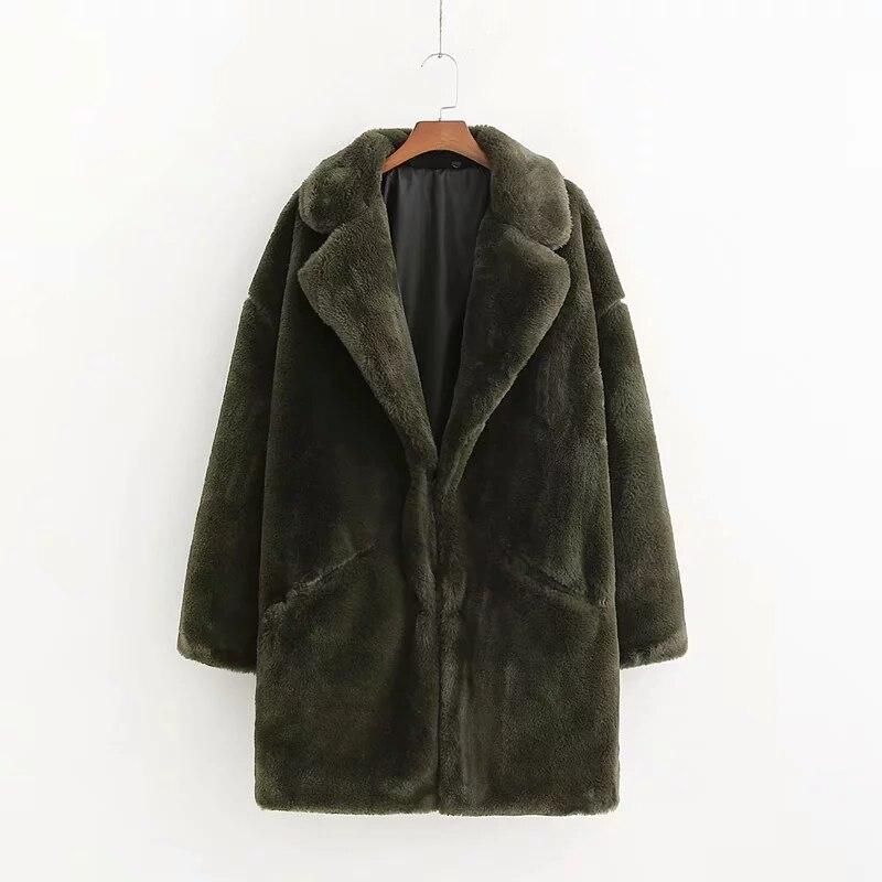 Femmes de fourrure de lapin manteau D'hiver vert faux manteau de fourrure femmes Chaud en peluche manteau à manches longues épaisse fourrure veste long manteau outwear 2019 - 2
