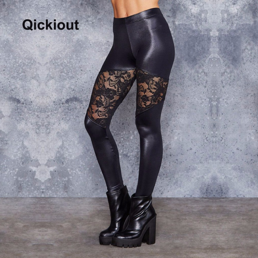 Qickitout Women Leggings Sexy Leather Pants Flower Lace Mesh Stitching Solid Black Long Pants For Nightclub Dancing Perspective
