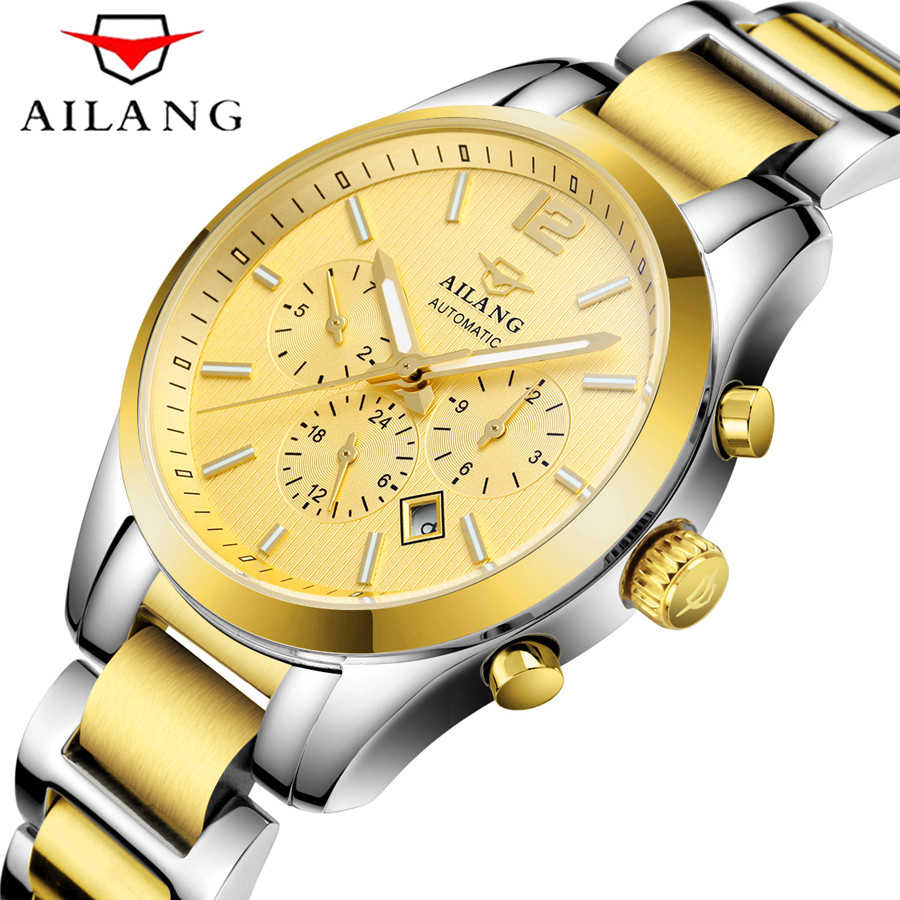AILANG New Number Sport Design Bezel Gold Watch Mens Watches Top Brand Luxury Montre Homme Clock Men Automatic Mechanical Watc ailang date month display rose gold case mens watches top brand luxury automatic watch montre homme clock men casual watch