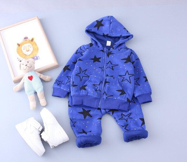 Детские мальчики девочки комплект одежды с капюшоном на молнии толстовки пальто и брюки звезды напечатаны толщиной 2 шт. детская одежда осень-зима 1-4 Т